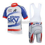 2014 Team SKY Cycling Bib Kit White Blue Red