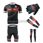 2015 Team Castelli Cycling Kit+Gloves+Arm Warmers+Leg Warmers Black