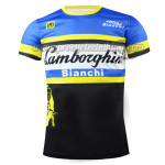 2015 Team Lambor Bianchi Cycling Outdoor Sport Apparel Sweatshirt Round Neck T-shirt Blue Black