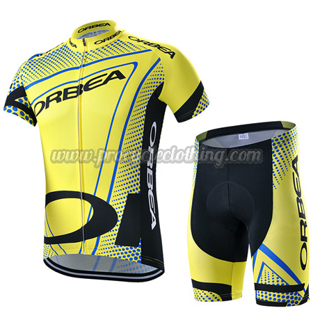 15af22532 2015 Team ORBEA Pro Bike Clothing Set Cycle Jersey and Shorts Yellow ...