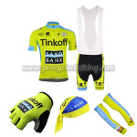 2015 Team Tinkoff SAXO BANK Cycling Bib Kit+Gloves+Bandana+Arm Warmers Yellow