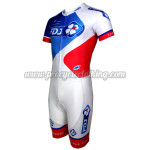 2015 Team FDJ Short Sleeves Triathlon Biking Apparel Skinsuit White Blue Red