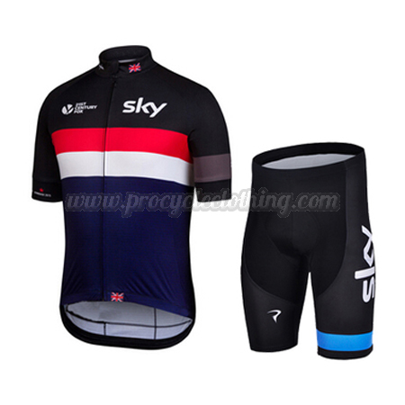 005859137 2015 Team SKY Rapha Pro Bike Clothing Set Cycle Jersey and Shorts Black Red  Blue