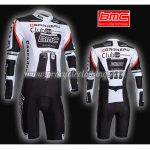 2011 Team BMC Long Sleeves Triathlon Cycling Outfit Skinsuit White Black