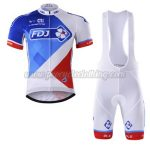 2017 Team FDJ Cycling Bib Kit White Blue Red