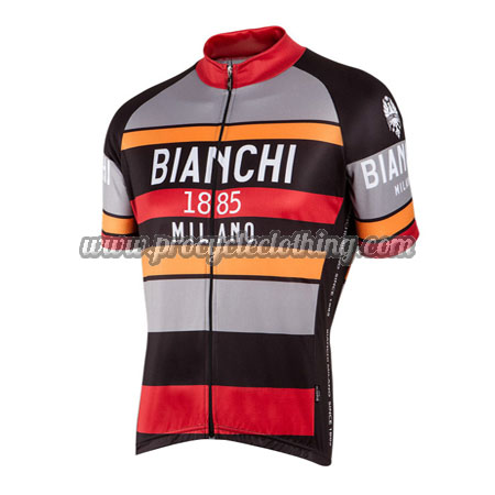 2016 Team BIANCHI 1885 MILANO Cycling Jersey Maillot Shirt Grey Black Red ebfd3c22e