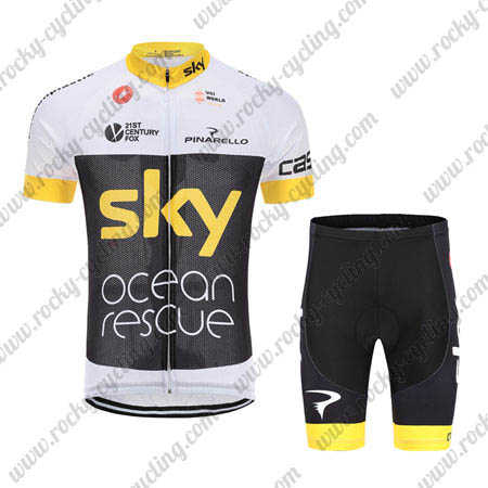 ... 2018 Team SKY Castelli Ocean rescue Cycling Kit White Black Yellow ... 8dce156ad