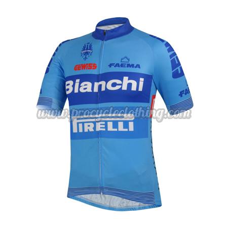 2014 Team Bianchi PIRELLI Pro Biking Clothing Riding Jersey Blue ... 686b33e32