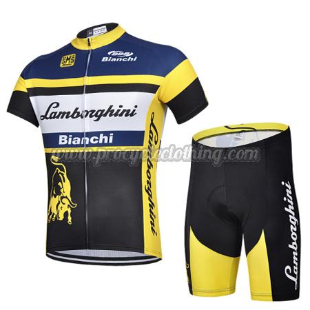 2015 Team Lamborghini Bianchi Pro Bike Clothing Set Cycle Jersey and ... 5593f9232