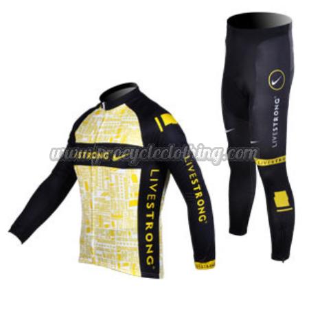 2012 Team LIVESTRONG Cycling Long Sleeve Kit Yellow Black · 2012 Team  LIVESTRONG Riding Long Sleeve Kit Yellow Black 副本 ea0d8de22