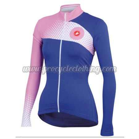 2014 Team Castelli Women s Biking Outfit Summer Winter Cycle Shirt Jersey  Blue Pink 9c2f67aa7
