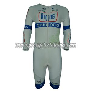 2014 Team Argos SHIMANO Long Sleeves Triathlon Cycling Wear Skinsuit White  Blue 70d8147be