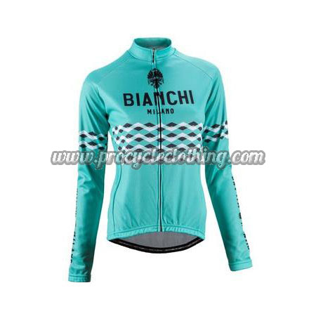 2016 Team BIANCHI Women s Winter Biking Wear Thermal Fleece Cycle Long  Jersey Jacket Blue d642930ab