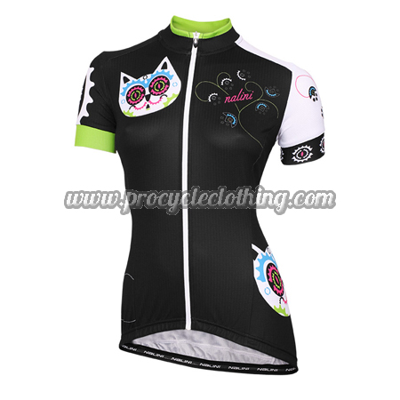 2015 Team Nalini Kitten Women s Lady Cycling Jersey Maillot Shirt Black a8da6fb59