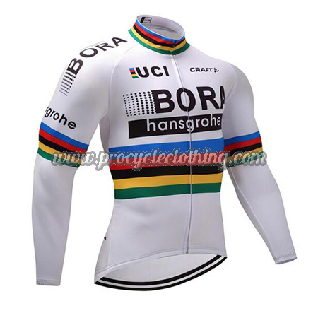 0d07d8957 2017 Team BORA hansgrohe UCI Champion Cycling Long Jersey White Rainbow