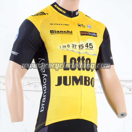 2018 Team LOTTO JUMBO Cycling Jersey Shirt Yellow Black