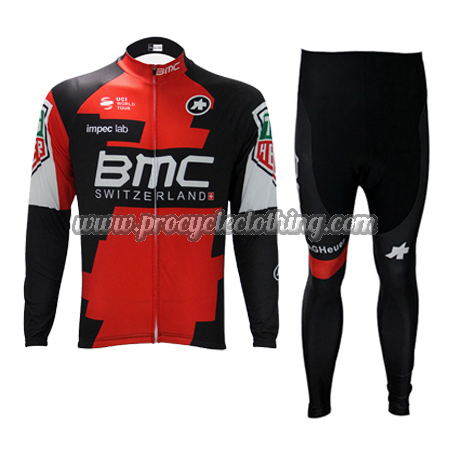 2017 Team BMC Biking Wear Cycle Long Jersey and Pants Tights Red ... 6ef289bd8