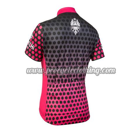... 2018 Team BIANCHI Women s Lady Biking Jersey Shirt Black Pink Dot 34170a0a5