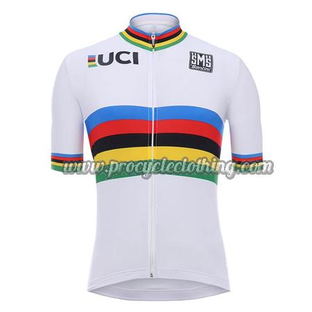 2018 Team Santini UCI Champion Cycling Jersey Maillot Shirt White Rainbow 9ddcbebfe