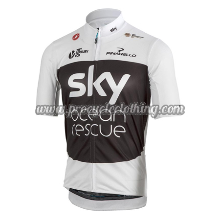2018 Team SKY Castelli Ocean Rescue Cycling Jersey Maillot Shirt White Black 5646e90f0